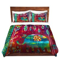 Duvet Covers Premium Woven Twin, Queen, King from DiaNoche Designs by Michelle Fauss Unique, Cool, Fun, Funky, Artistic, Designer, Stylish Home Decor and Bedroom Bedding Ideas - Elephants Eden