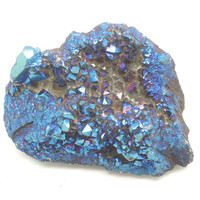 Rock & Mineral Rough Specimen -Titanium Blue Agate Druzy Ornament Code RS018, Healing Crystal Ornament, Jewelry Accessary