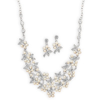 Simulated Pearl and Crystal Flower Fashion Necklace and Earring Set