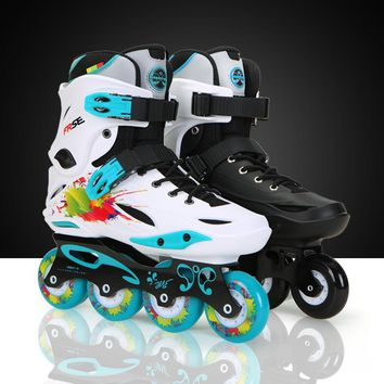 Adult Inline Skates for Beginner Advanced Skater Freestyle FRSE M1 ABEC-9 Bearing Aluminium Alloy Frame PU Skaitng Wheels Patin