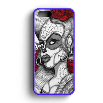 Sugar Skull Tattoo Graphic Rose Flower Art Aan  iPhone 5 Case iPhone 5s Case iPhone 5c Case