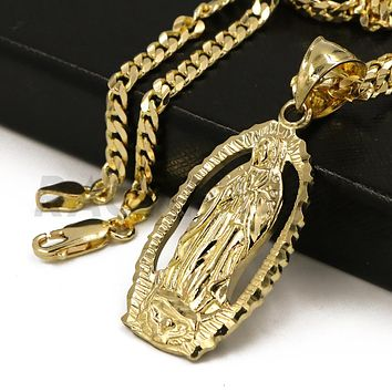"Solid Brass Gold Diamond Cut Our Lady of Guadalupe Halo Pendant w/ 5mm 24"" Concave Cuban Chain B05G"