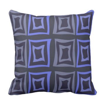 Square Distorted Blue & Gray Throw Pillow