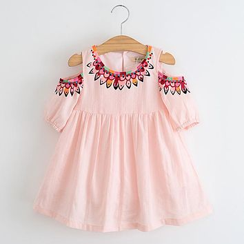 2017 New Summer Style Girls DressKids Spring Clothes Embroidery Girls Clothing Children Dress Floral Print Knee Length