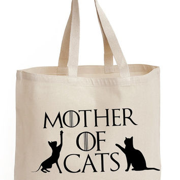 Mother of Cats Cotton Tote shopping  office school book Bag game of thrones Fan art