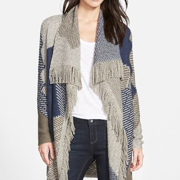 Women's NIC+ZOE 'Blue Waves' Long Cardigan with Fringe,