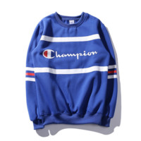 Tide Champion classic logo round collar hedging lovers fitted velvet thicken sweater Color blue