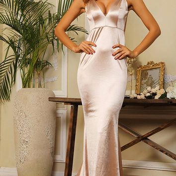 Glowing Goddess Champagne Nude Sleeveless Spaghetti Strap Plunge V Neck Ruched Back Mermaid Maxi Dress