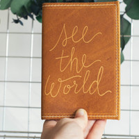 Leather Passport Cover See The World Engraved Design