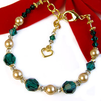 Gold Pearl Green Crystal Bracelet, Swarovski, Heart Charm, Adjustable