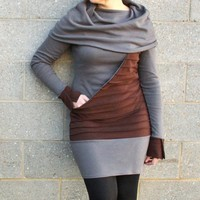 Huge cowl neck dress with pintuck kangaroo by CotyLeeClothing