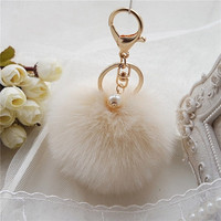 Fluffy Ball Keychain Cute Pompom Simulation Rabbit Fur Ball Key Chain For Car Key Ring Car Bag Pendant Chaveiro CF