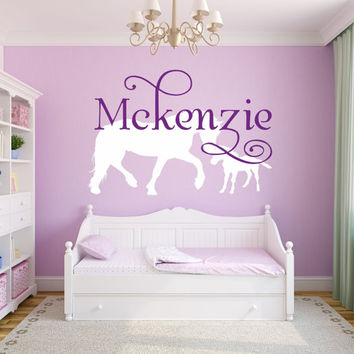 Horse Name Decal, Horse Decor, Personalized Horse and Baby Horse, Cowboy or Cowgirl Decor, Equestrian Wall Decal, Horse Art