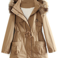Brown Pocket Detail Detachable Faux Fur Hood Parka Coat