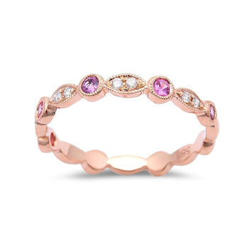 0.32tcw Pink Sapphires & Diamonds in 14K Rose Gold Stackable Band Ring