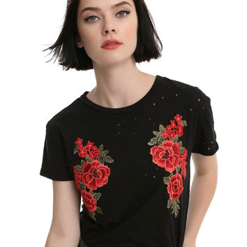 Black Embroidered Rose Girls Top