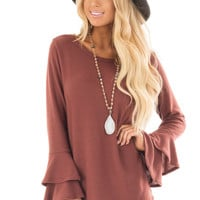 Marsala Soft Knit Long Sleeve Top with Tiered Bell Sleeves