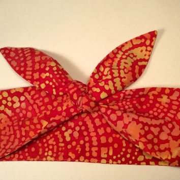 Dolly Headband, Tie-Up Hairband, 100% Cotton Batik, Red and Yellow - READY TO SHIP!
