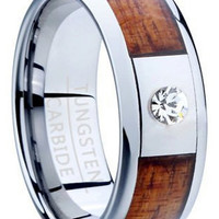 Handcrafted Koa wood ring with CZ diamond and crafted with Tungsten Carbide