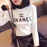 Chanel Women Fashion Multicolor Turtleneck Rhinestone Letter Bodycon Long Sleeve T-shirt Tops