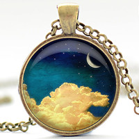 Night Sky Necklace, Crescent Moon Pendant, Moon and Clouds Charm (1286)