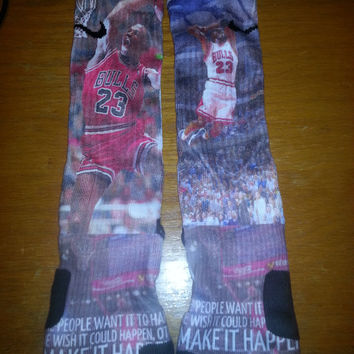 michael jordan make it happen custom nike elite socks