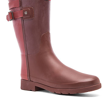 Hunter Original Refined Back Strap Short Rain Boot in Umber & Lava Red
