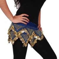 Belly Dance Chiffon Hip Scarf - Masriole | ROYAL/GOLD