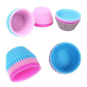 6pcs Silicone Cake Mold Muffin Cupcake Baking Dishes Pan Form to Bake Cake Dessert Decorating Tools Bakeware Kitchen Dining Bar