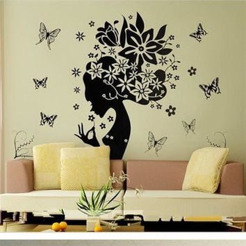 Pretty Butterfly Flower Fairy Girl PVC Wall Sticker Home Decor Decals home decor for kids rooms adesivos de parede poster