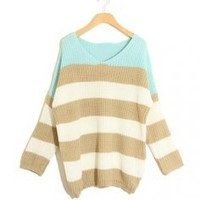 Green Striped Bat Long Sleeve Sweater - Designer Shoes|Bqueenshoes.com