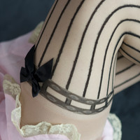 Sheer Pinstriped Thigh Highs with Bows - Sock Dreams - Unique Colorful Socks