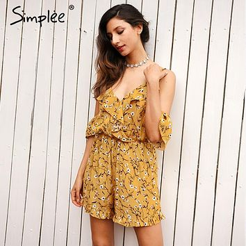 Simplee Ruffles print jumpsuit romper women Sexy v neck beach party overalls Boho summer streetwear cold shoulder playsuits