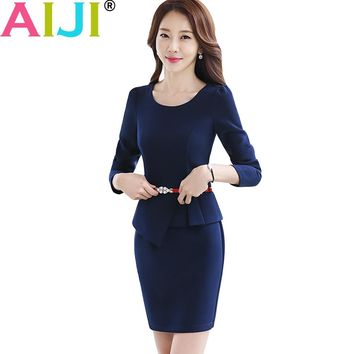 women work wear long sleeve one piece dress OL summer Elegant hem ruffles slim dresses office ladies plus size formal uniform