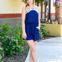 WILD FLOWER FIELDS ROMPER IN NAVY