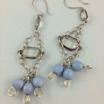 chandelier earrings vintage plastic beads homemade pewter hooks