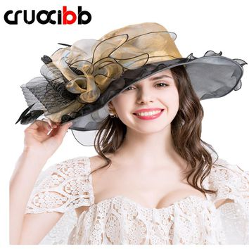 CRUOXIBB 2017 Fashion Summer Women's Design Flower Yarn Hat Summer For Women Brim Wedding Dress Church Hats Elegant Ladies Party