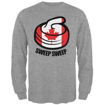 ESBGQ9 Winter Sports Flag Curling Sweep Sweep Canada Mens Long Sleeve T Shirt