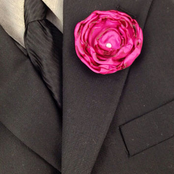 Bright Pink Fabric Flower with Swarovski Crystal Rhinestone, Groomsmen Boutonniere, Groom's Boutonniere, Wedding Party, Bridal Party, Pink