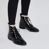 Black patent diamante trim lace-up boots - Boots - Shoes & Boots - women