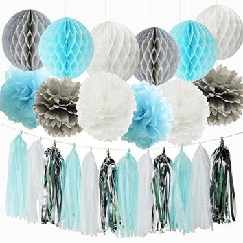 Qian's Party Baby Boy Baby Shower Decorations Baby Shower Backdrop Blue White Grey/First Birthday Boy Decorations Tissue Paper Pom Pom Tassel Garland Honeycomb Balls Elephant Birthday Decorations Boy
