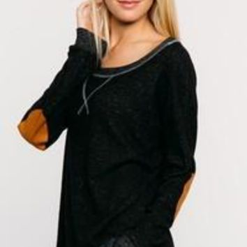 Casual Sweater with Elbow Patch - Black