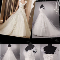 Gorgeous A-line tulle with appliques train straps cap sleeves wedding dresses