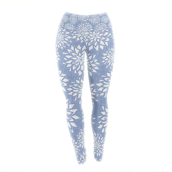 "Julia Grifol ""Blue Garden"" Aqua White Yoga Leggings"