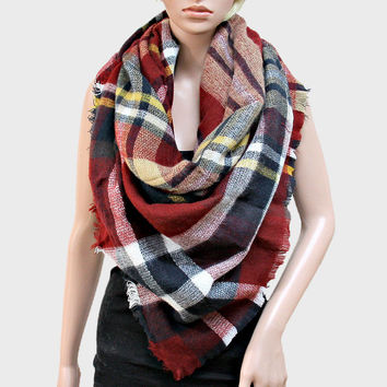 Plaid Check Knit Fringed Trim Blanket Scarf - Red & Yelow