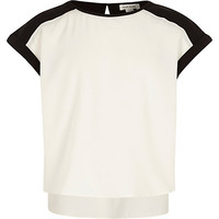 River Island Girls white and black color block top