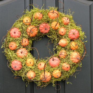 Fall Home Decor Fall Pumpkins Wreath OOAK by twoinspireyou