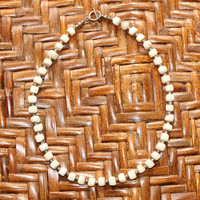 Vintage Beach Hippie Natural Polished Stone Beaded Necklace