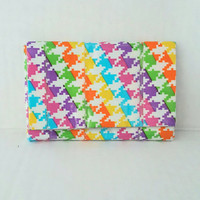 Small Coin Purse - Handmade Rainbow Houndstooth Duct Tape Wallet - Cool Unique Women's Wallet - Stocking Stuffers for Women - Gift Ideas