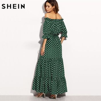 SHEIN Polka Dot Bardot Neckline Tie Waist Dress Off the Shoulder Three Quarter Length Sleeve A Line Belted Maxi Dress